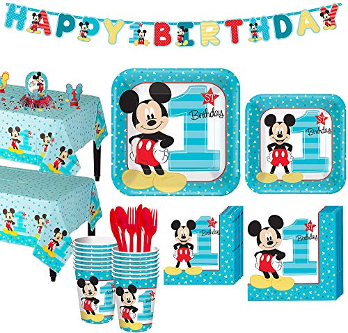 Party City 1st Birthday Mickey Mouse Party Kit for 16 Guests, Includes Table Covers, Decorating Supplies and Banners