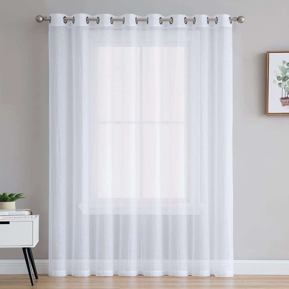 """ASATEX Crushed Semi-Sheer White Color Patio Door Window Curtain Panel That's 100 Inch Wide and 84 Inch Long Great for Sliding Doors, Extra Large Windows or Outdoor Coverings. RIT 100"""" x 84"""" White"""