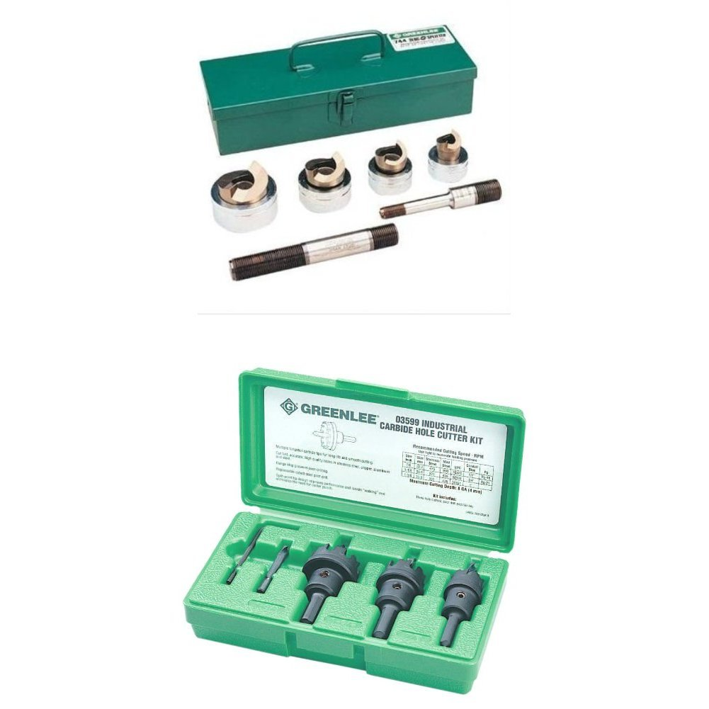 Greenlee 744 Slug-Splitter Self Centering Knockout Punch Kit for 1/2-Inch to 1-1/4-Inch Conduit & Greenlee 635 Carbide Tipped Hole Cutter Kit by