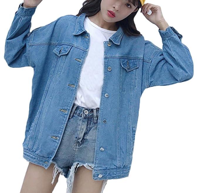 Frauen Jeansjacke Langhülse Lose Jeans-Jacke Lässig Jacke Einfarbig  Oversize Denim Outwear  Amazon.de  Bekleidung f6ff8fc143
