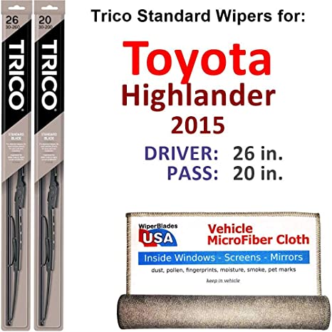 Amazon.com: Wiper Blades for 2015 Toyota Highlander Driver & Passenger Trico Steel Wipers Set of 2 Bundled with Bonus MicroFiber Interior Car Cloth: ...