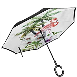 "YOFUHOME Flamingo Car Reverse Umbrella Single Flamingo Rainbow Colors Tie Dye Style Background Animal World Artwork Print Upside Down UV Protection Windproof, 42.5""x31.5""Inch Multicolor"