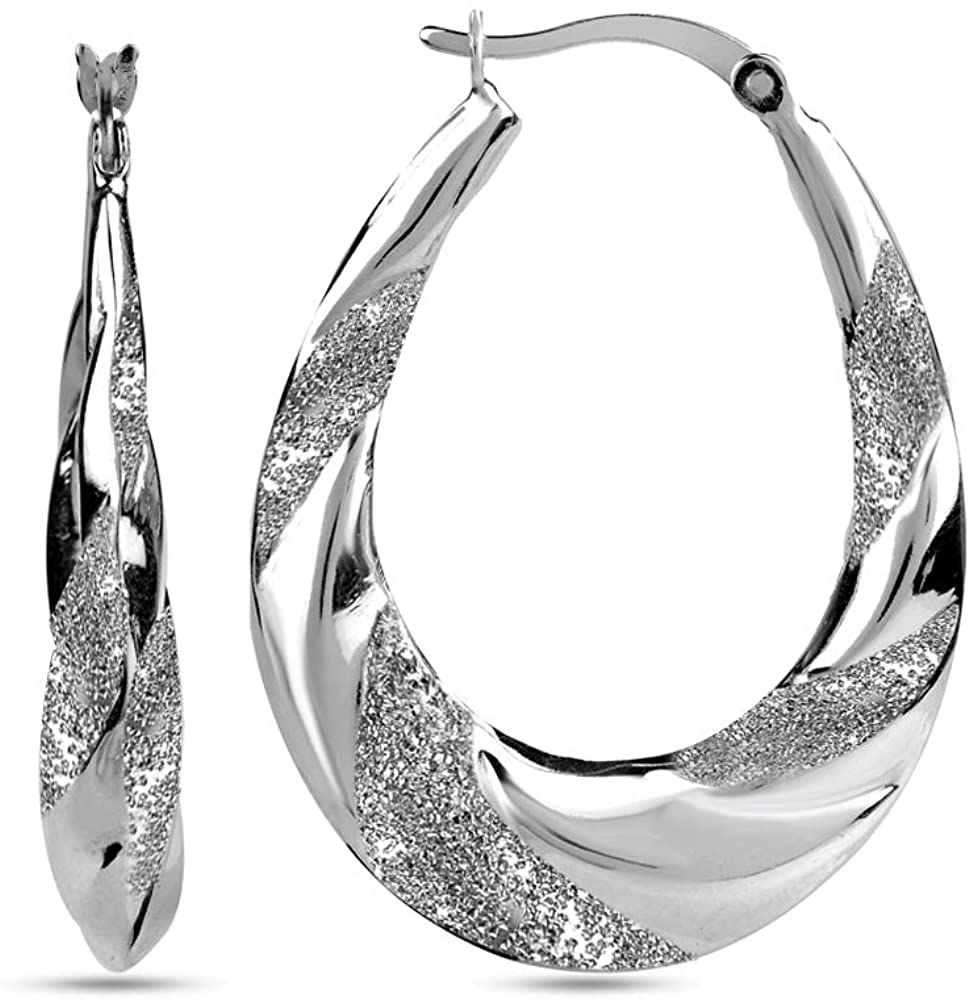 LeCalla Sterling Silver Jewelry High Polish Hoop Earrings with Diamond Cut for Girls