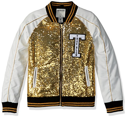 True Religion Big Girls' Sequin Jacket, Gold, S by True Religion