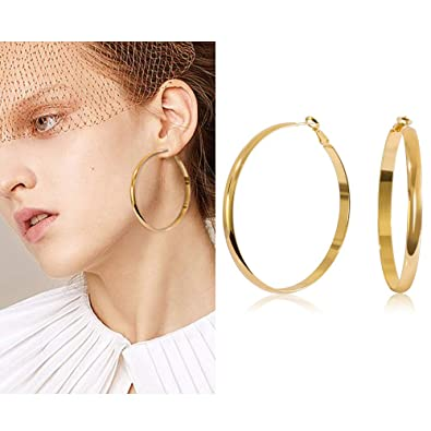 0afc338fb shownii Large Big Thick Gold Hoop Earrings 60mm 14k Gold Wide Hoops Earrings  Stud for Women