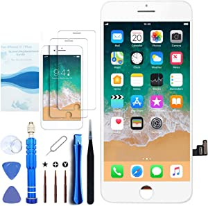 for iPhone 7 Plus Screen Replacement White 5.5 Inch LCD Display with 3D Touch Screen Digitizer Frame Full Assembly Include Reliable Free Repair Tools Kit+Instruction+Screen Protector (7Plus White)