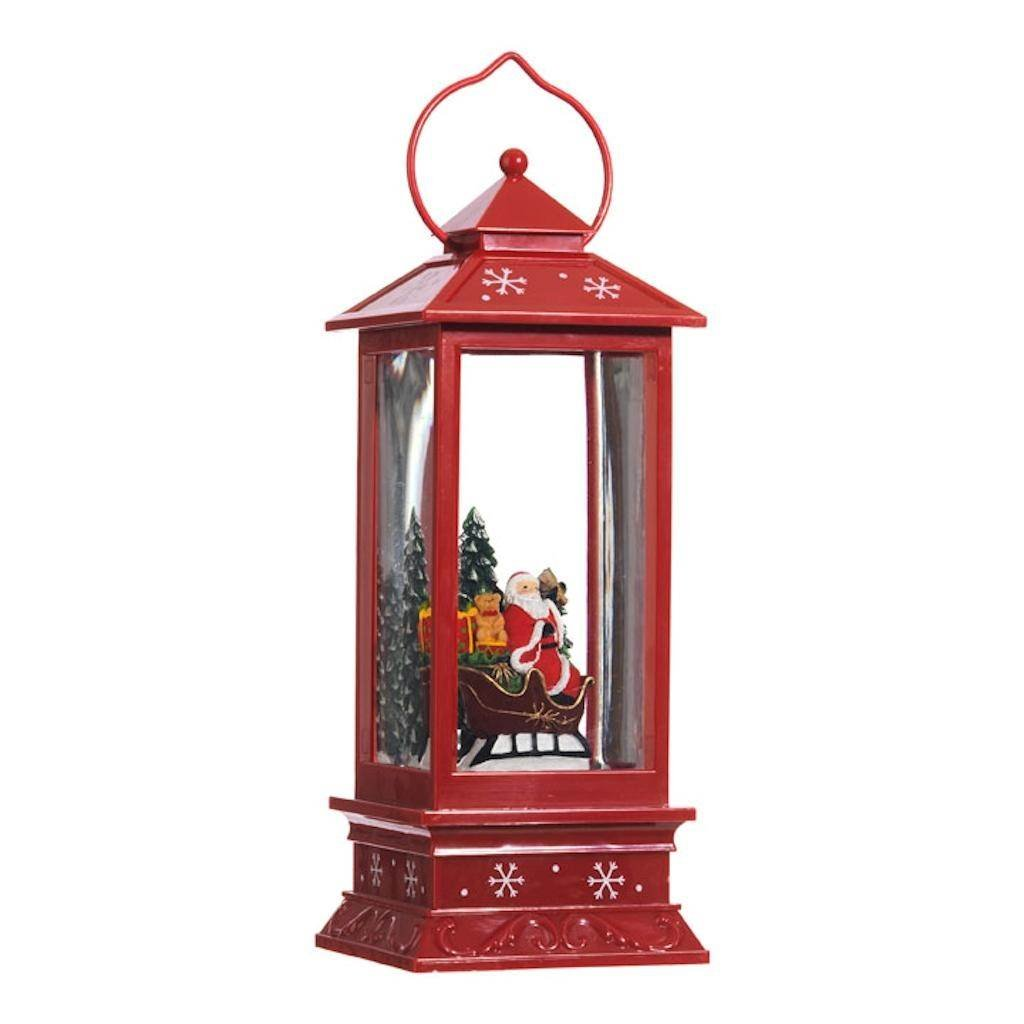 Lighted Snow Globe Lantern: 11 Inch, Red Holiday Water Lantern by RAZ Imports (Santa Claus and Sleigh)