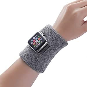 Hontao Sweat-Absorbing and Breathable Sports Bracers Bands Apply to Apple Watch Bands 38mm 40mm Loadable iWatch Series 5 4 3 2 1 (Gray, 38/40mm)