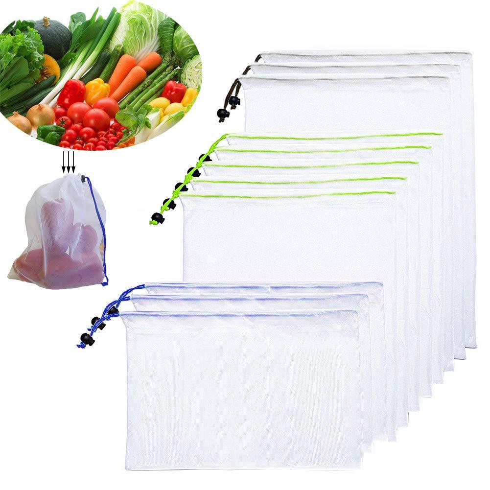 Organizaci/ón De Refrigeradores Juguetes Y Libros Cord/ón Codificado Verduras Bolsa De Productos De Malla Reutilizable Y Segura para Alimentos: Juego De 9 Bolsas De Malla Transparentes para Frutas