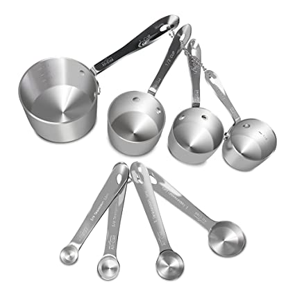 a0568d8b484b6 Amazon.com: All-Clad Stainless-Steel 8 pc. Standard-Size Measuring Cup &  Spoon Combo Set: Kitchen & Dining