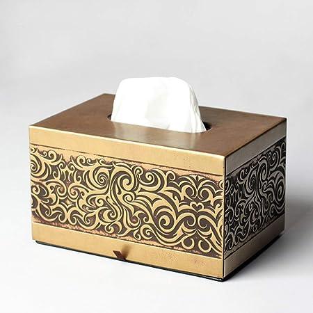 JSFQ Caja de pañuelos Bandeja de Estilo Retro Vintage Textura de Metal Caja de pañuelos Rectangular Dos Colores (Color : Gold): Amazon.es: Hogar
