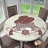 Mikihome Chateau Easy-Care Cloth Tablecloth and Banner with Two Guns Hat Pistols Poker Ace Cowboy Texas Chesnut Brown for Home, Party, Wedding 67''-71'' Round (Elastic Edge)