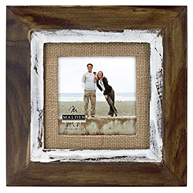 Malden International Designs Rustic Distressed Wood Fashion Two Tone Cedar Picture Frame with Burlap Mat to Hold 4 by 4-Inch Photo, 4 by 4-Inch