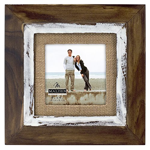 Malden International Designs Rustic Distressed Wood Fashion Two Tone Cedar Picture Frame with Burlap Mat Picture Frame, 4x4, Brown Cedar Frame