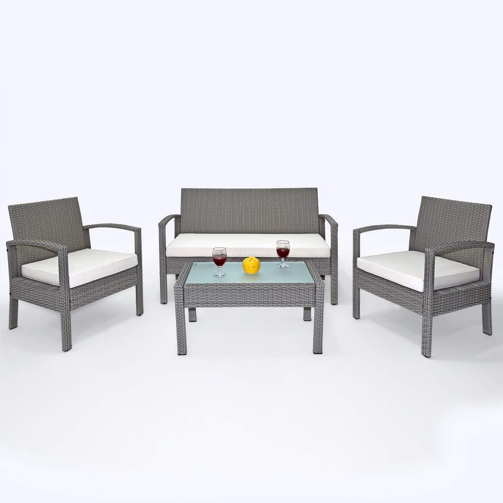 Deuba Poly Rattan 4+1 4+1 4+1 Lounge grau   7cm Sitzauflagen   5 mm Glastischplatte   wetterfestes Alu-Gestell   abnehmbare, waschbare Bezüge [ Modellauswahl ] - Sitzgruppe Gartenmöbel Balkon Set a3f2b2