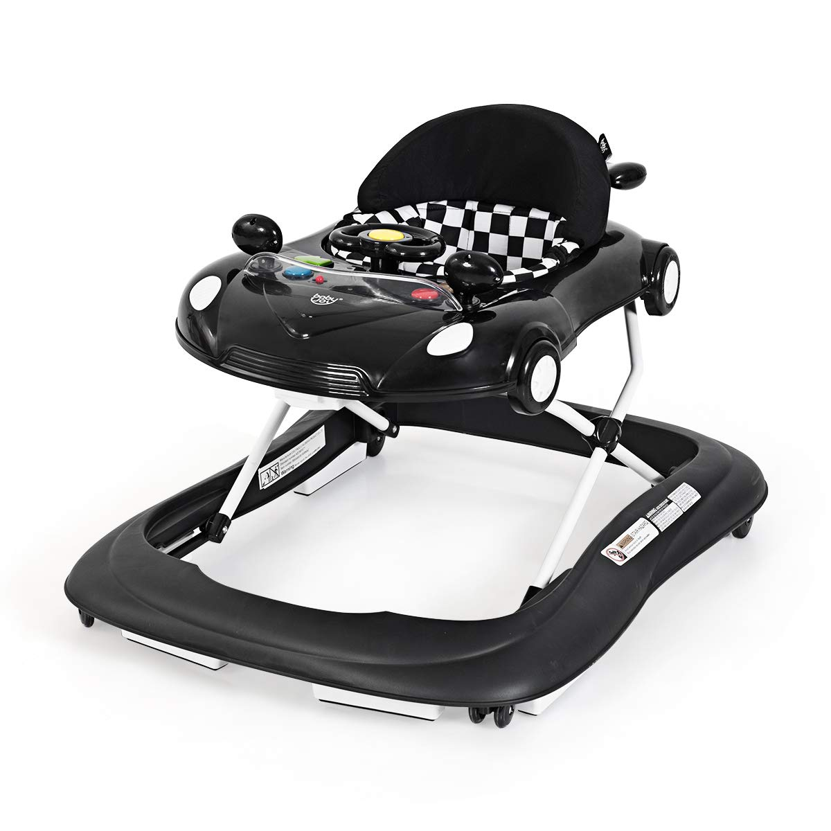 BABY JOY Baby Walker, Activity Walker with Adjustable Height & Lights, Music, Steering Wheel, Mirrors, Removable Tray to Food Tray, High Back Padded Seat, Compact Folding Design (Black)