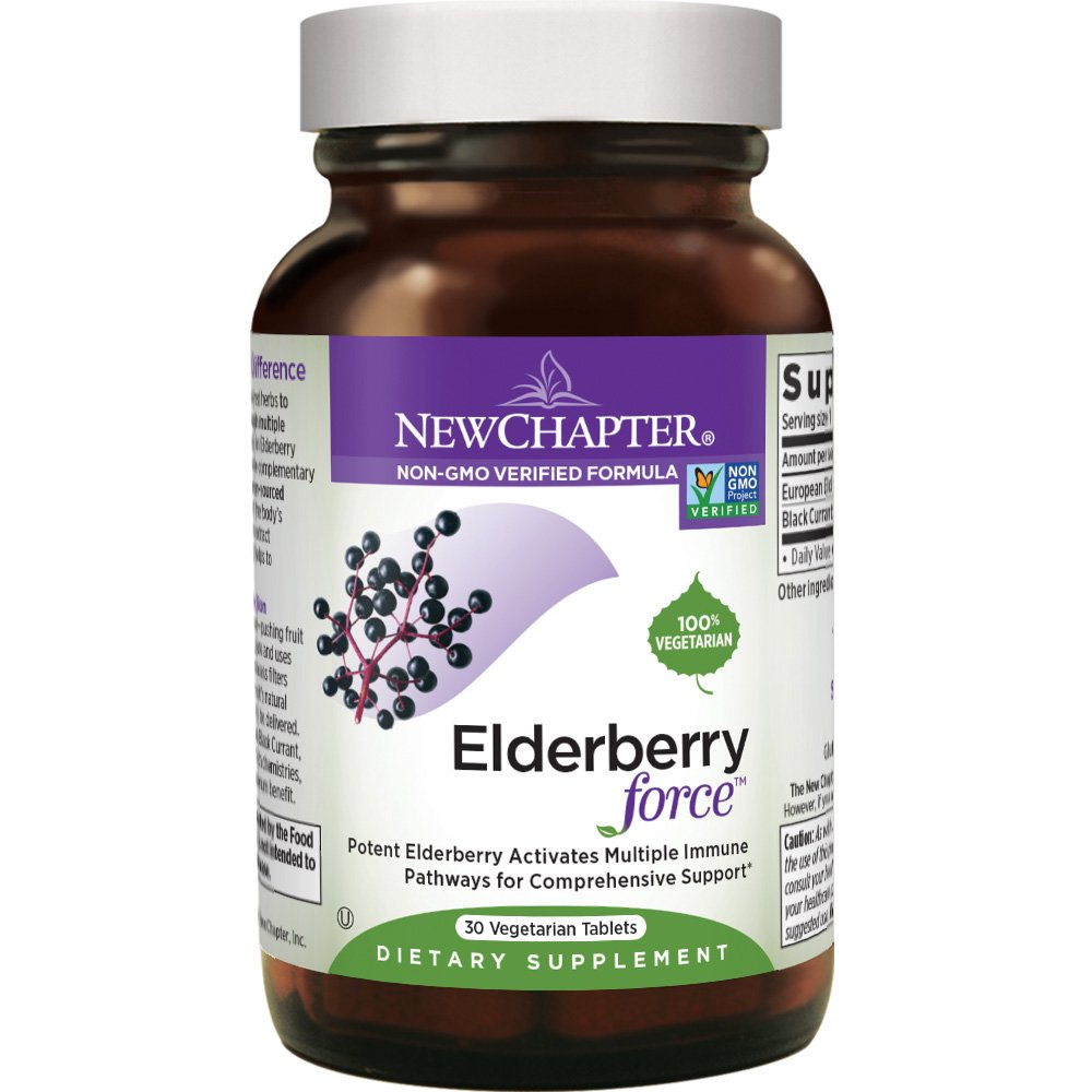 Elderberry Capsules, New Chapter Elderberry Force, with 64x Concentrated Black Elderberry + Black Currant for Immune Support, No Added Sugar, Gluten Free, Vegan - 30 Count