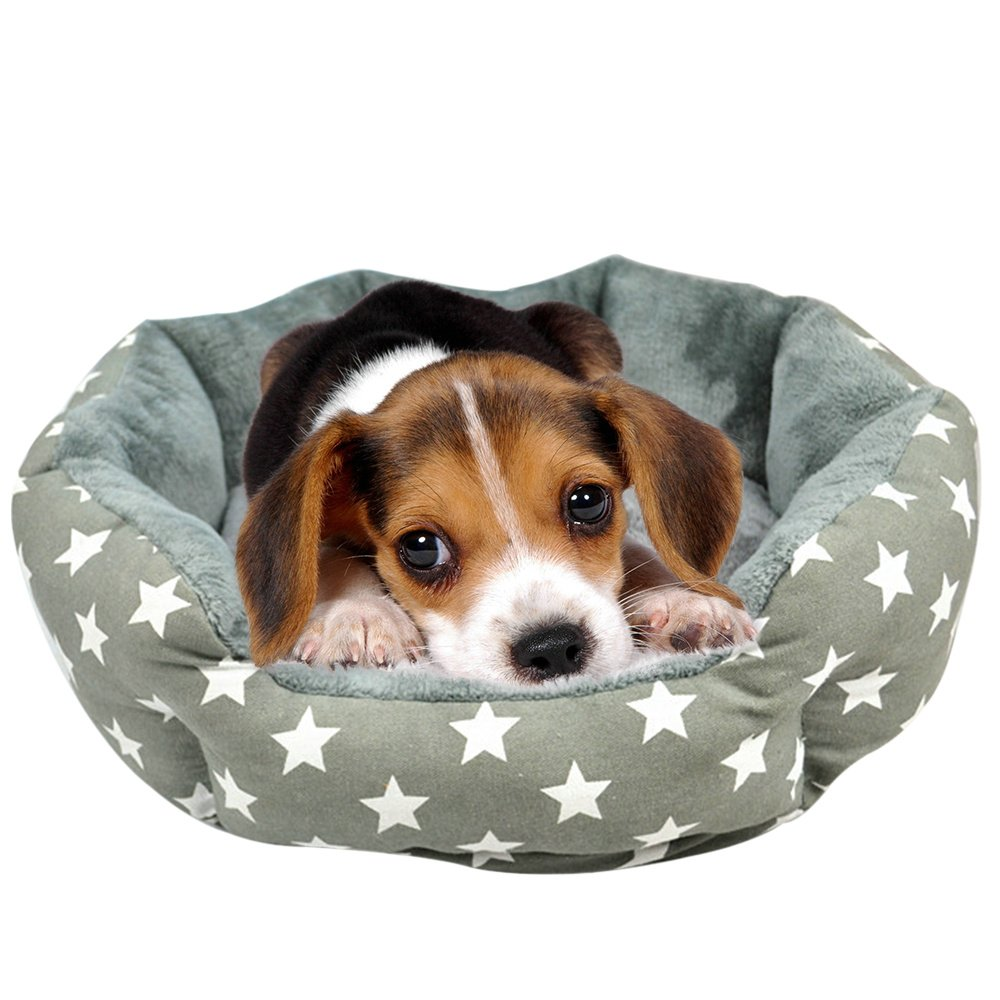 Pet Dog Bed, Dog Soft Pet Self Warming Cat Pet Warm Basket Bed with Fleece Lining Fit Most Pets Size Small