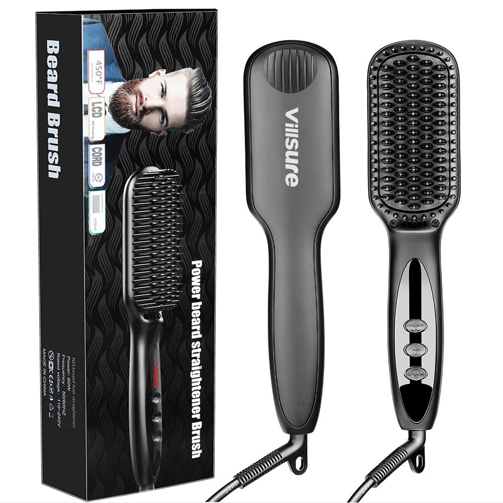 Beard Beard Straightener, Villsure Ionic Beard Hair Straightening Brush with Anti-Scald, Heated Hair Straightener Comb for Men Women LED Display with 12 Temperature Settings for Home Travel