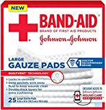JOHNSON & JOHNSON Band-Aid First Aid Gauze Pads 4 Inches X 4 Inches 25 Each (Pack of 12)
