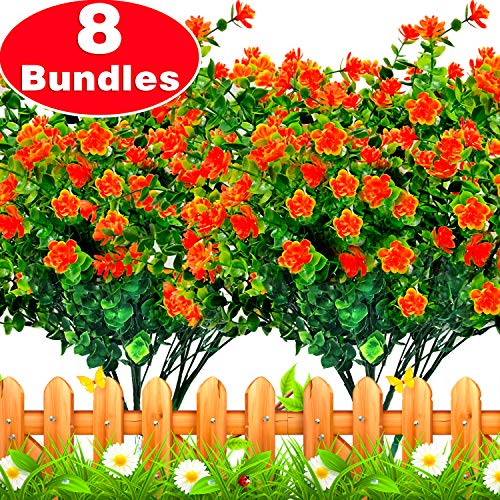 Artificial Flowers, 8 Bundles Faux Outdoor UV Resistant Simulation Greenery Shrubs, Artificial Plants Garland Fake Flowers Indoor Outside Hanging Planter Garden Office Home Wedding Fall Decor (Best Artificial Flowers For Outdoors)