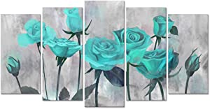 Visual Art Decor Vintage Flowers Painting Prints Rustic Blooming Teal Rose on Grey Picture Printed on Canvas Wrap Floral Art Decal for Home Living Room Bedroom Wall Decoration