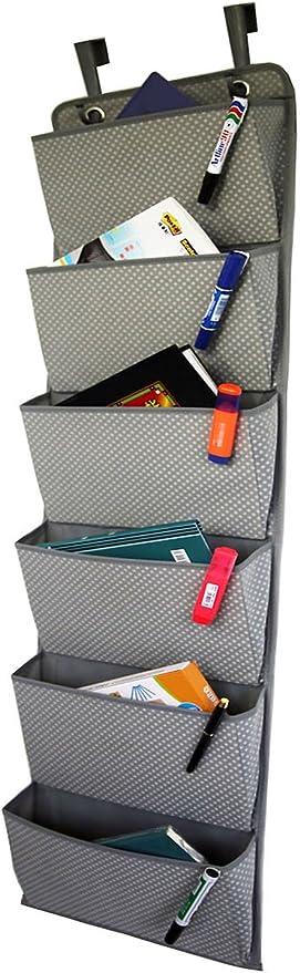 Organizador de archivadores colgantes en la puerta, portaobjetos de oficina de 6 bolsillos para montaje en pared Archivadores de bolsillo para portatiles, planificadores y carpetas de archivos: Amazon.es: Hogar