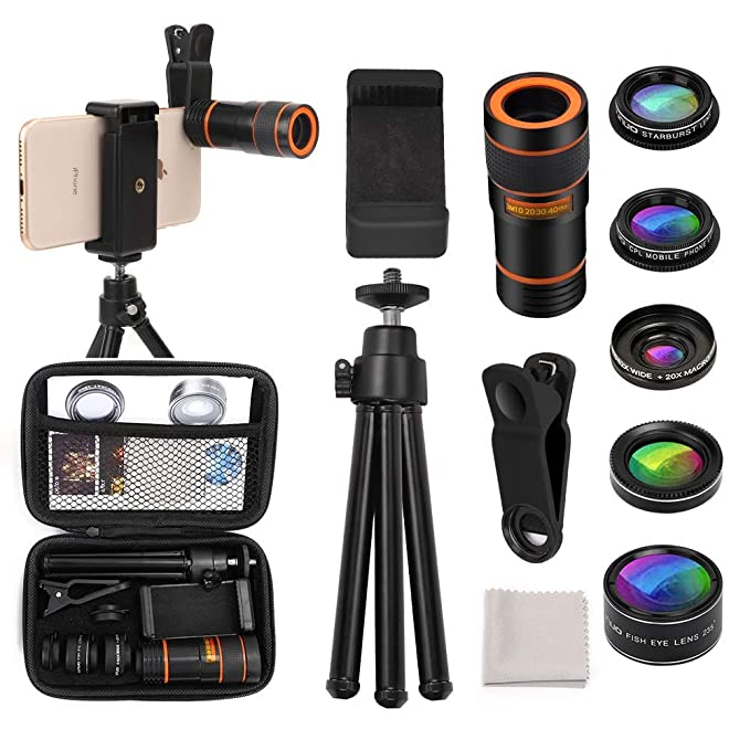 Cell Phone Camera Lens Kit OUNUO 6 in 1 Kit 12X Zoom Telephoto Lens 235°  Fisheye Lens 0 62X Wide Angle Lens 20X Macro Lens Professional CPL Lens