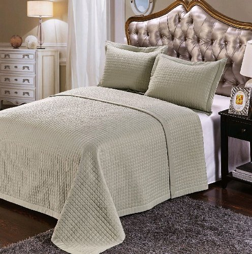 Wrinkle Free Checkered Quilted 3PC Coverlet Set/Bed Spread Set (Sage, Full/Queen)