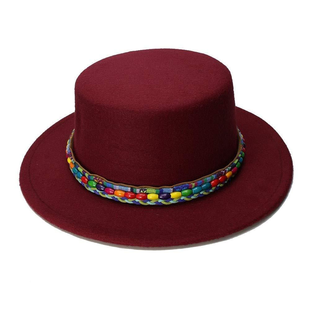 Very Soft Retro Kid Vintage 100/% Wool Wide Brim Cap Pork Pie Porkpie Bowler Hats Nation Wind Bead Leather Band