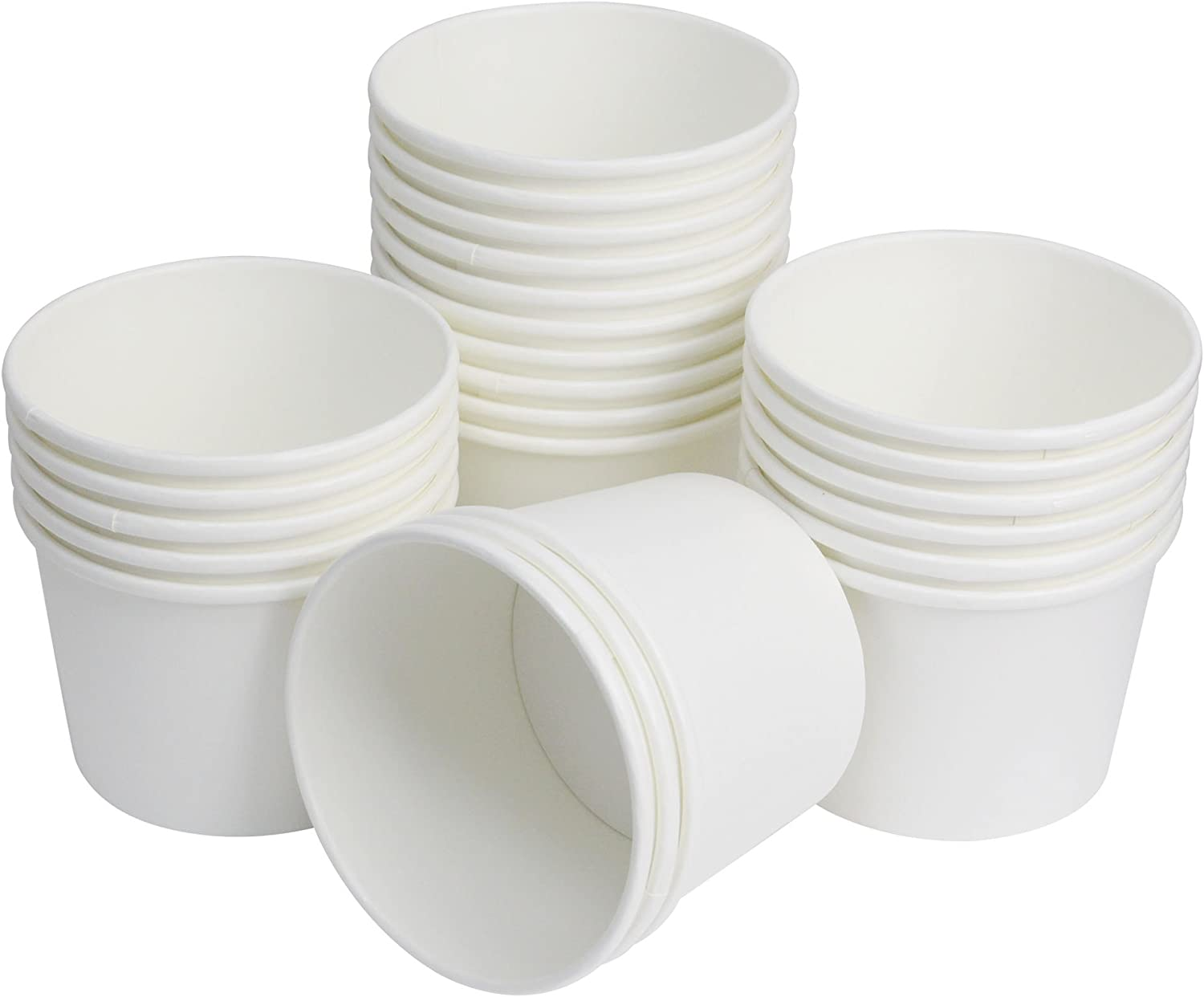 25 Count Disposable Hot and Cold Food Storage Paper Containers, Durable Ice Cream Cups for Frozen Desserts, Hot Soups, or Any Food You Desire (16 Ounce, White)