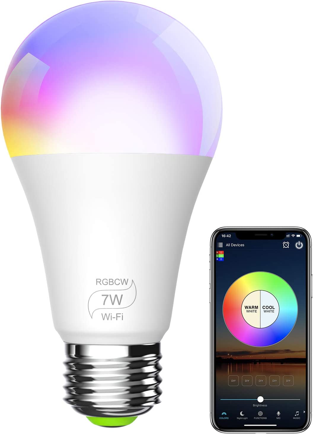 7W No Hub Required A19 E26 RGBCW WiFi Dimmable Multicolor LED Lights 60w Equivalent BERENNIS Smart Light Bulb Compatible with Alexa Google Home and IFTTT