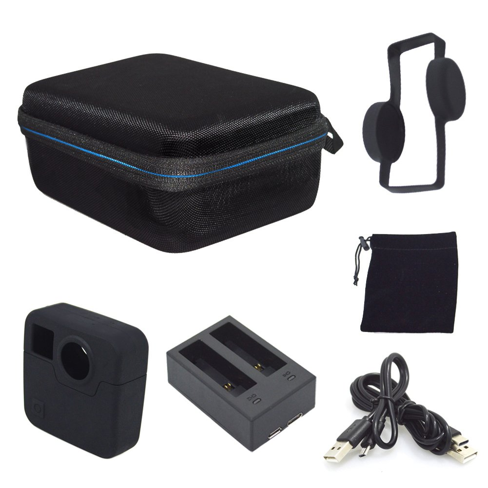 Carrying Case for GoPro Fusion, Portable Accessories Case for GoPro Fusion Cameras Include Silicon Protective Cover, Battery Charger, USB Cables