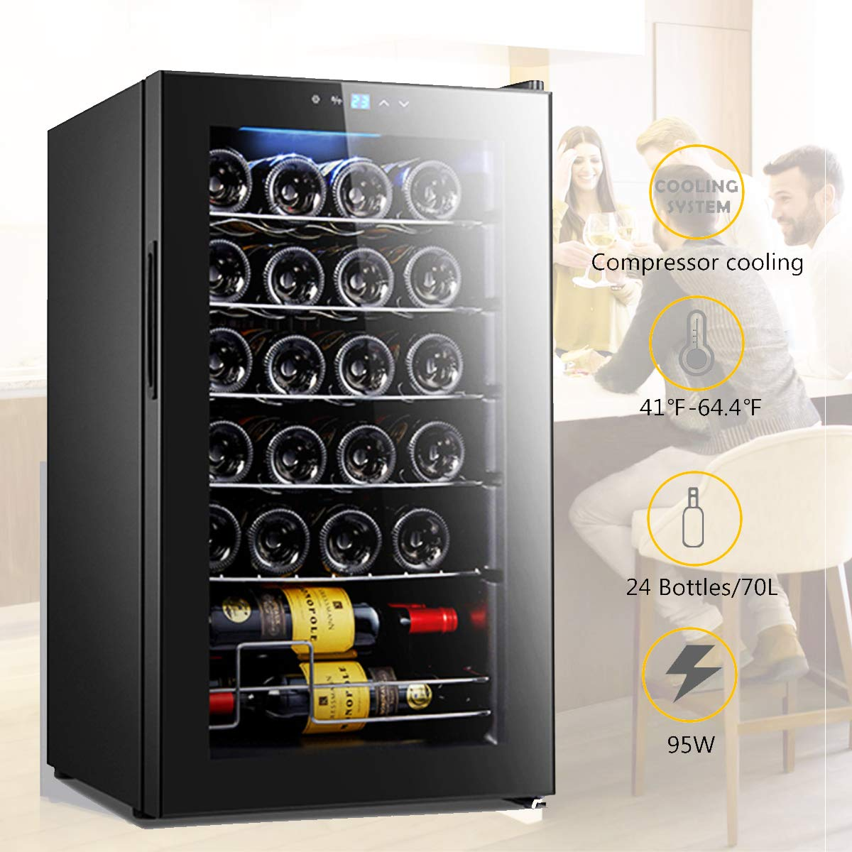 VANELL Compressor 24 Bottles Wine Cooler Refrigerator with Stainless Steel Tempered Glass Door Ultra Quiet Stable 41 -64.4 Red White Champagne Electric Chiller Touch Control Wine Cellar