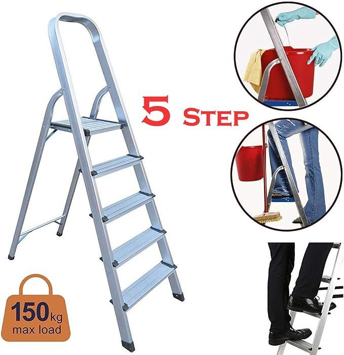 Escalera de plataforma ligera de aluminio, 5 peldaños, antideslizante, 150 kg de capacidad: Amazon.es: Bricolaje y herramientas