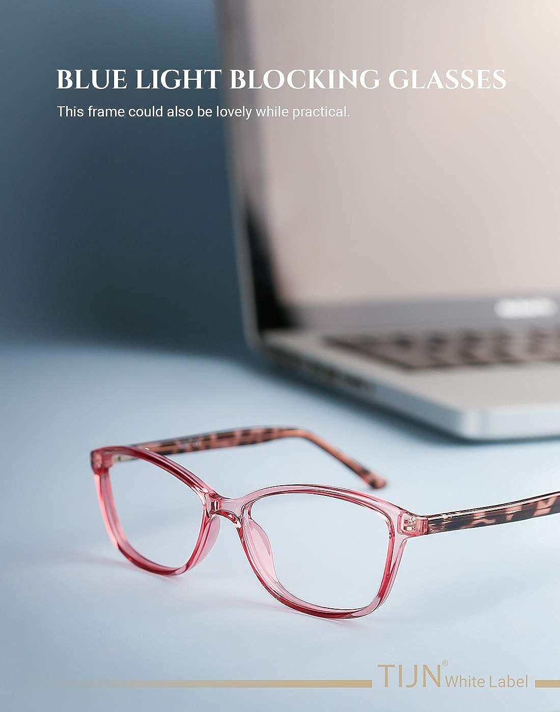 TIJN Blue Light Blocking Glasses Cateye TR90 Frame Anti Blue Ray UV Filter Eyeglasses