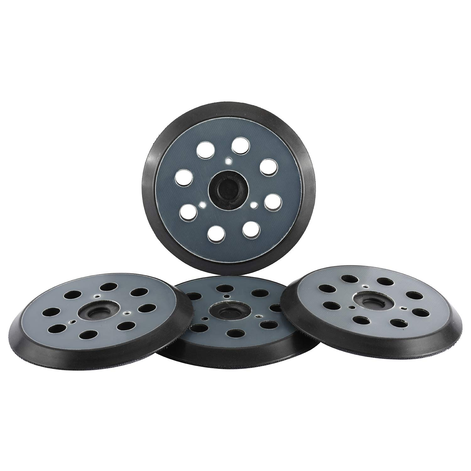 """YaeCCC 4 Pack 5"""" inch 8 Hole Replacement Sander Pads, Hook and Loop Sanding Backing Plates for Makita 743081-8 743051-7, DeWalt 151281-08 DW4388, Porter Cable, Hitachi 324-209 etc"""