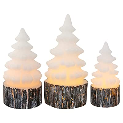 Eldnacele Christmas Flameless Flickering Candles with Timer Battery Operated Tree Shaped White Candles, LED Electric Wax Candles Warm White Set of 3 Seasonal Decoration Presents: Home Improvement