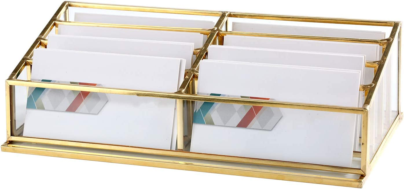 Glass Business Card Holder, Vintage Durable Office Name Cards Display Holder Handcrafted Professional Office Desktop Countertop Business Cards Organizer Unique and Modern Fits 380 Pcs Cards (8 Tiers)