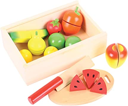 Bigjigs Toys Wooden Play Food Vegetable Crate Pretend Role Play Kitchen