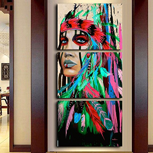 Chief Canvas - Indian Girl Chief Native American Painting Canvas Print Wall Pictures for Living Room Modern Home Decor Artworks Posters and Prints Pictures 3 Piece Framed Gallery-wrapped Stretched, 20x28 Inch/3pcs