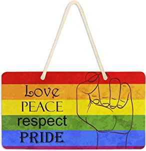 DOMIKING Rainbow Welcome Sign Door Decor - Gay Pride Wooden Sign Love Peace Respect Plaque LGBT Wall Hanging Sign Home Decor 6 x 11 Inch