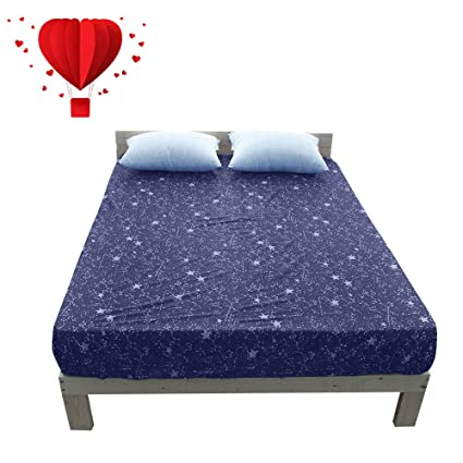 Amazon Com Bulutu Cotton Deep Pocket Starry Sky Print Fitted Bed