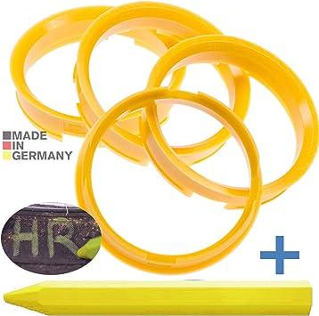 4x Zentrierringe Gelb 72 6 Mm X 65 1 Mm 1x Reifen Kreide Fett Stift Auto