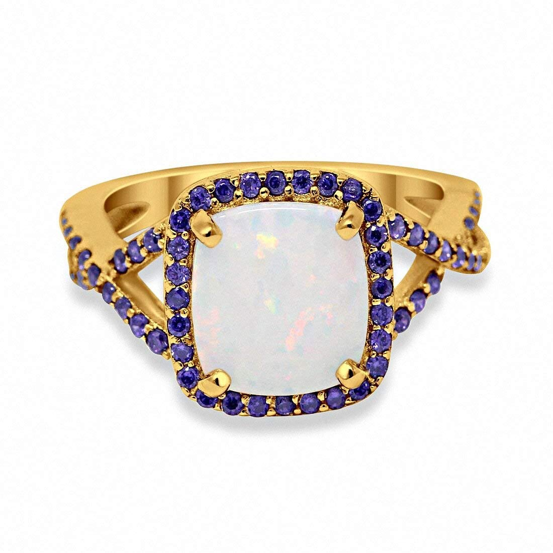 Blue Apple Co Size-6 Halo Infinity Shank Fashion Ring Round Simulated Amethyst Created White Opal Yellow Tone 925 Sterling Silver