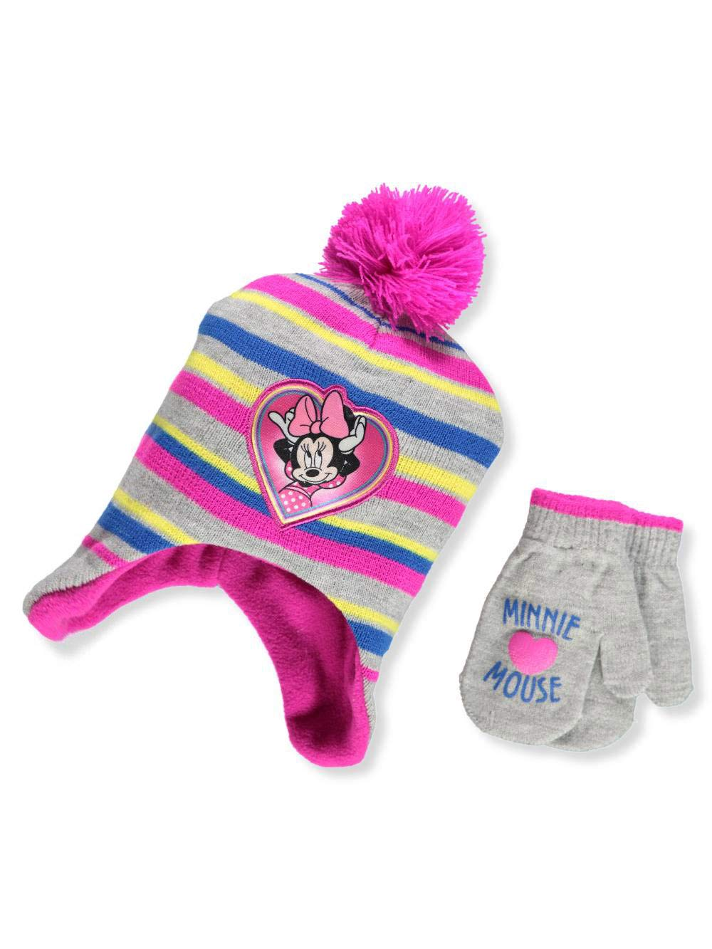 Disney Minnie Mouse Big Girls' Beanie & Mittens Set - gray/purple, one size