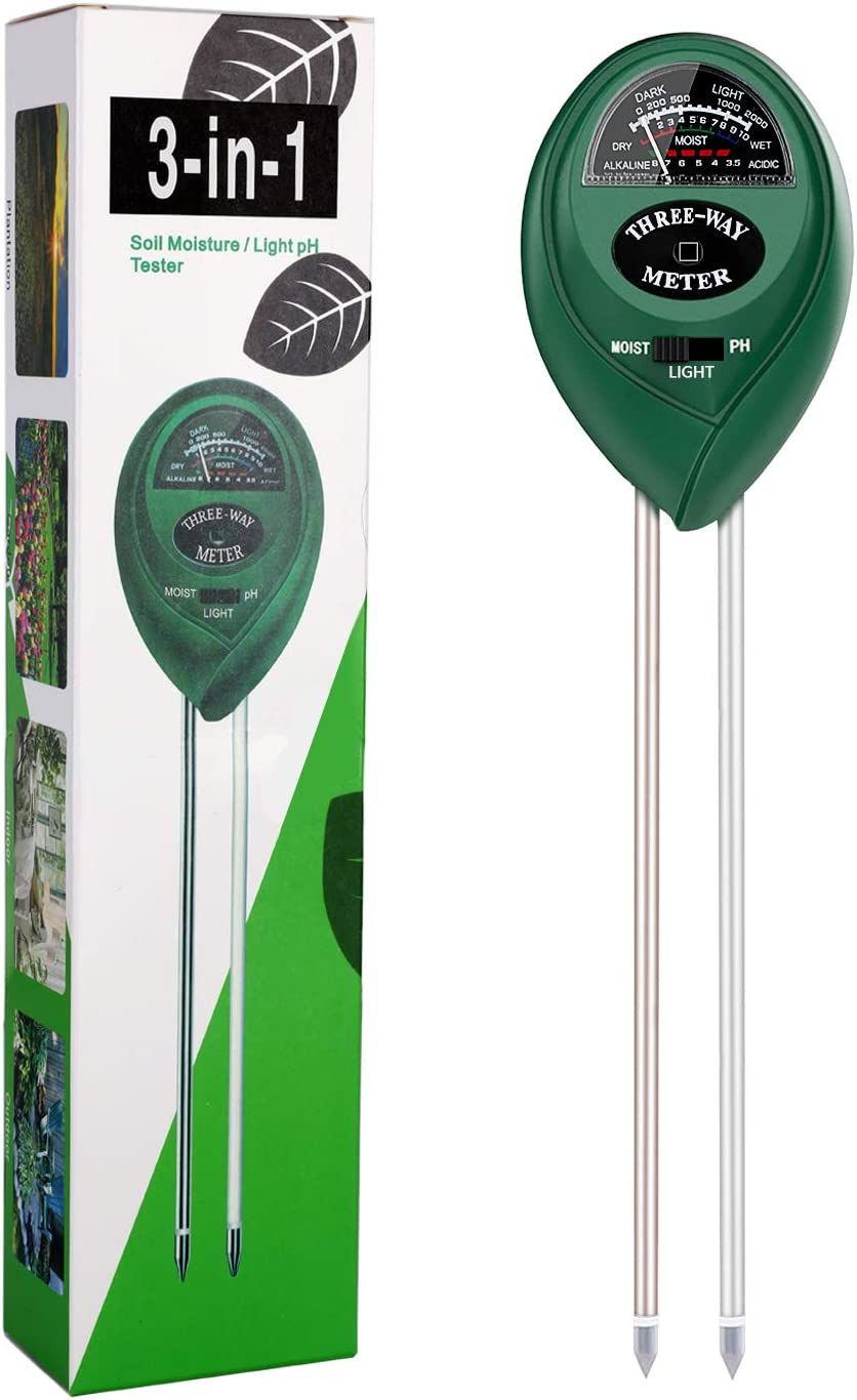 SURENSHY Soil PH Meter, 3-in-1 Gardening Tester, Soil Hygrometer, Light Tester, Can Test The PH, Humidity and Light of Garden, Farm, Lawn, Indoor and Outdoor(No Battery Required : Garden & Outdoor