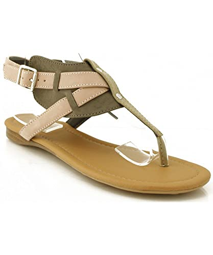 13b6e3a01a02d Qupid Agency-200 Two Tone T-strap Sandals GREY (6.5)