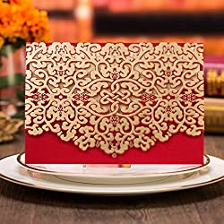 50pcs Elegant Laser Cut Wedding Invitations Cards with Envelopes and Stickers (Party invite)
