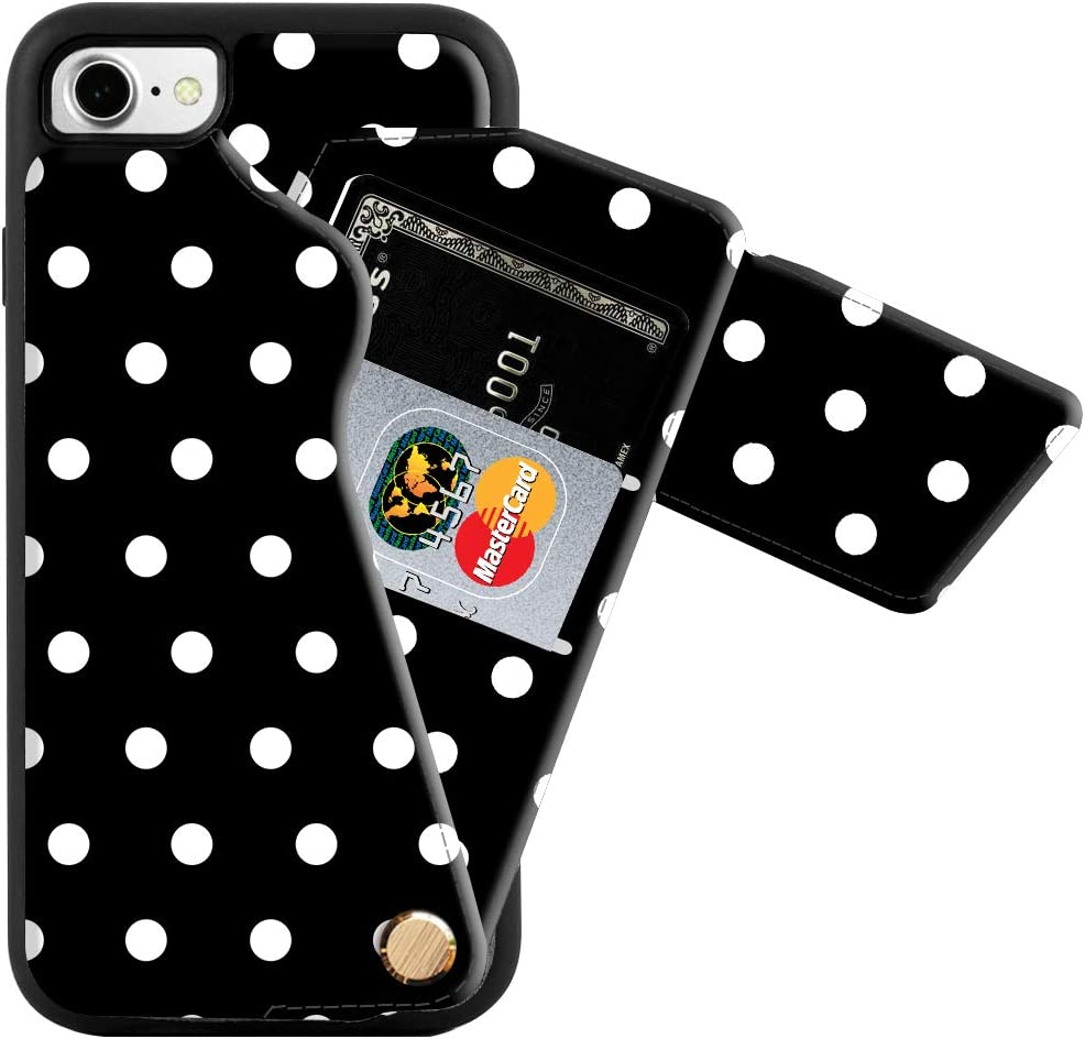 ZVEdeng iPhone SE2 Wallet Case Rotational Wallet Phone Case with Credit Card Holder Slot Leather Shockproof Cover Printed Phone Case Slim Handbag Purse for iPhone SE2/8/7 4.7INCH-Polka Dots